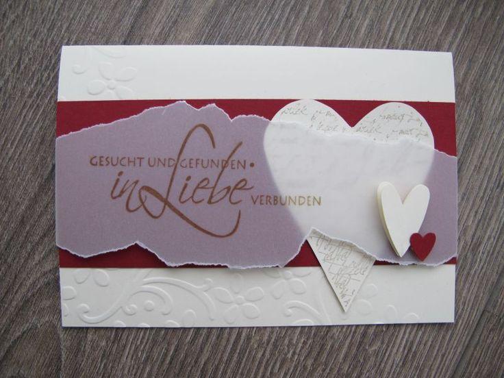 Hallo Ihr Lieben,   damit Euch nicht langweilig wird, zeige ich Euch heute mal eine Hochzeitskarte.      Ganz schlicht wieder, aber schön.  ...