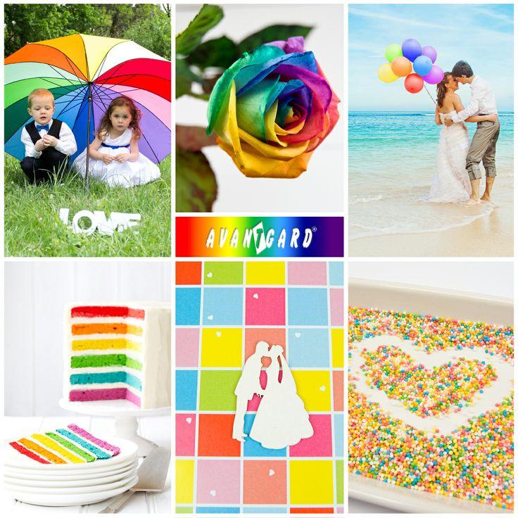 Duhová isnpirace značky Avantgard. / Rainbow inspiration, bowtie, colours, Avantgard, rainbow cake, wedding, groom, bride, love, balloons, umbrella, children, rose