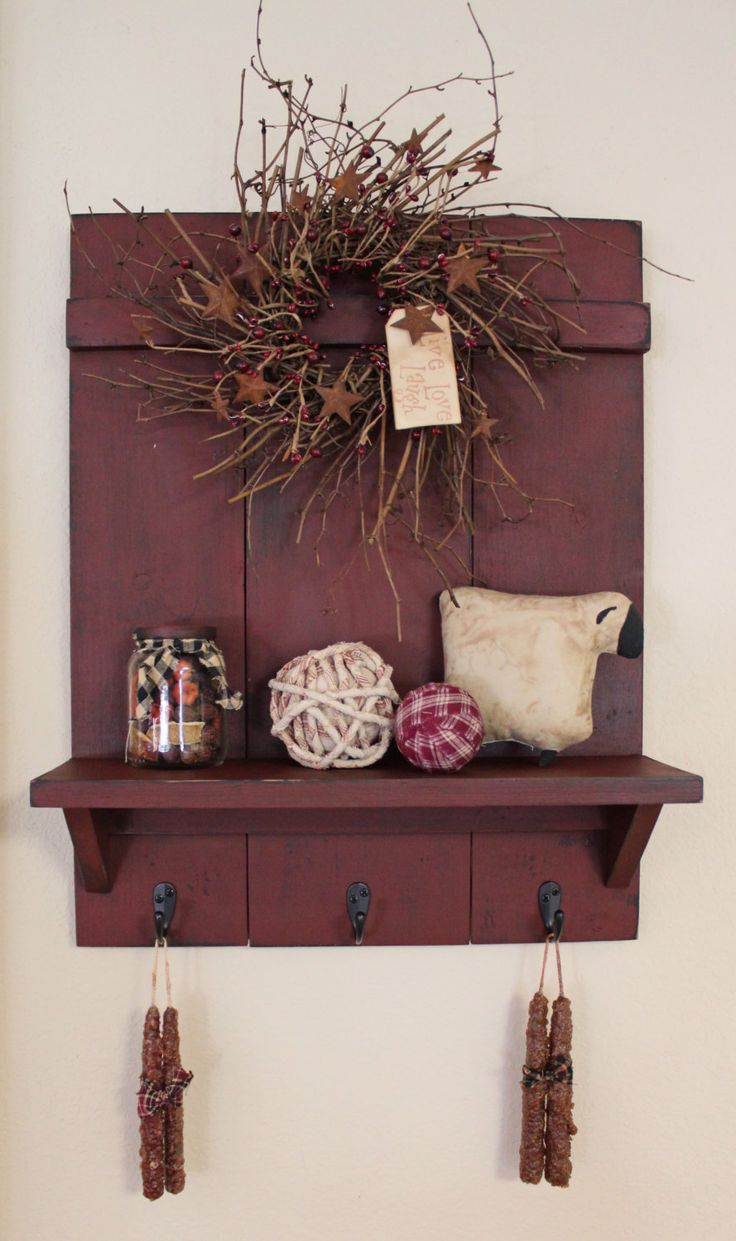 Handmade Primitive Country Distressed Wall Shelf with 3 Rubbed Bronze  Hooks, Burgundy over Black, 23