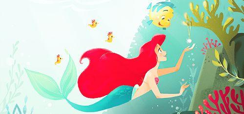 The art from Disney Golden Books (x)  The Little Mermaid   La Sirenita Ariel