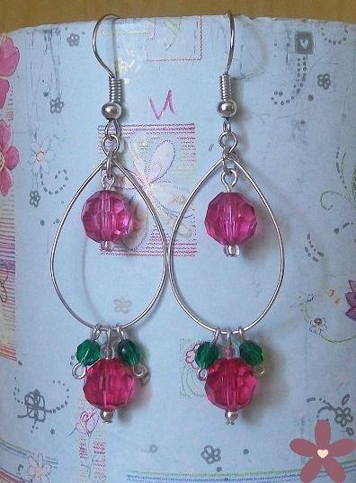 orecchini fucsia e verde. Handmade jewellery