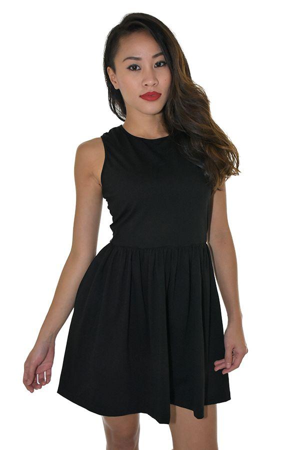 PSL Cross Back Skater Dress in Black