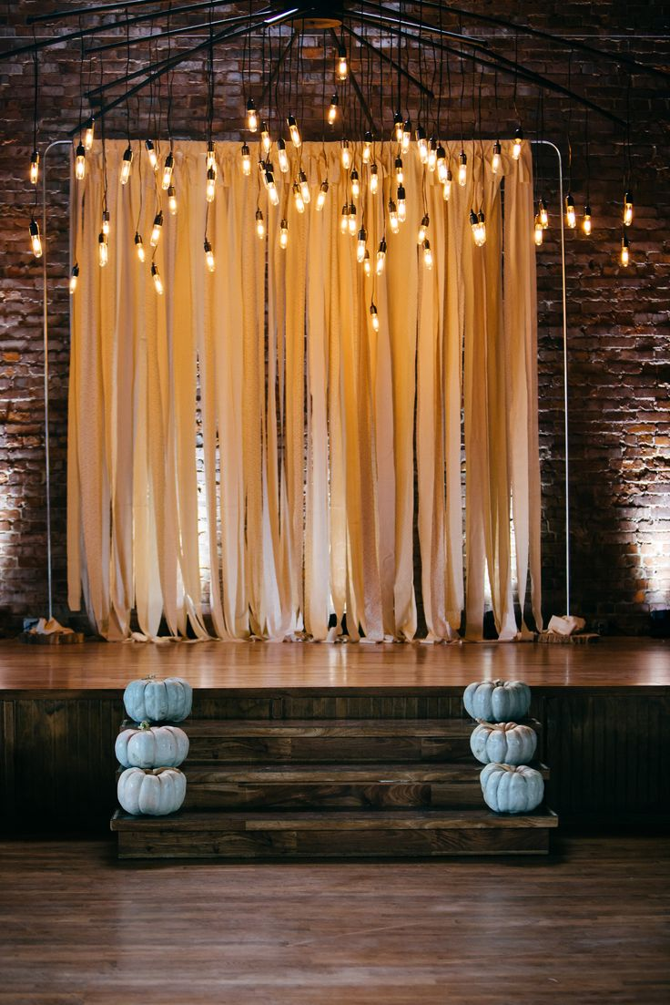 Ribbon backdrop with edison bulbs.