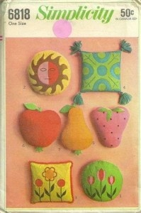 Fruit Vegetable and Decorative Pillows Pattern Simplicity 6818 Vintage 1960s Sewing Pattern by patterngate.com