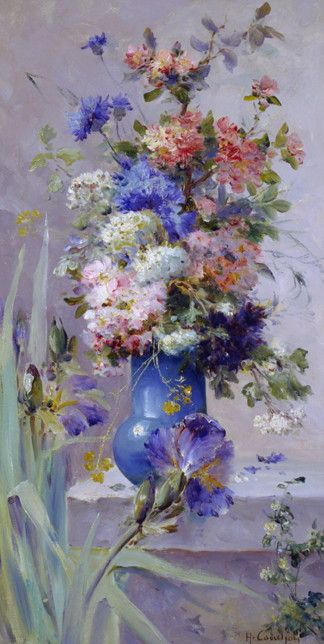 Summer Flowers with Japanese Iris, Eugene Henri Cauchois (1850-1911)