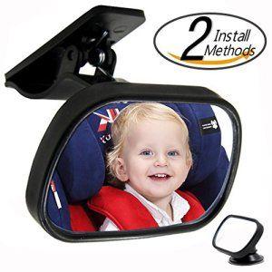 Magicmoon Mini Miroir Incassable Vue arriere Siège bébé Rétroviseur, Facilement regarder votre bébé avec Clear View et Réglable Rotation…