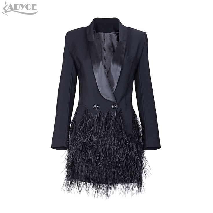 2017 new Fashion Blazer Women Jacket black Feathers Notched jaqueta feminina Celebrity Runway Jackets Elegant Lady Winter Blazer