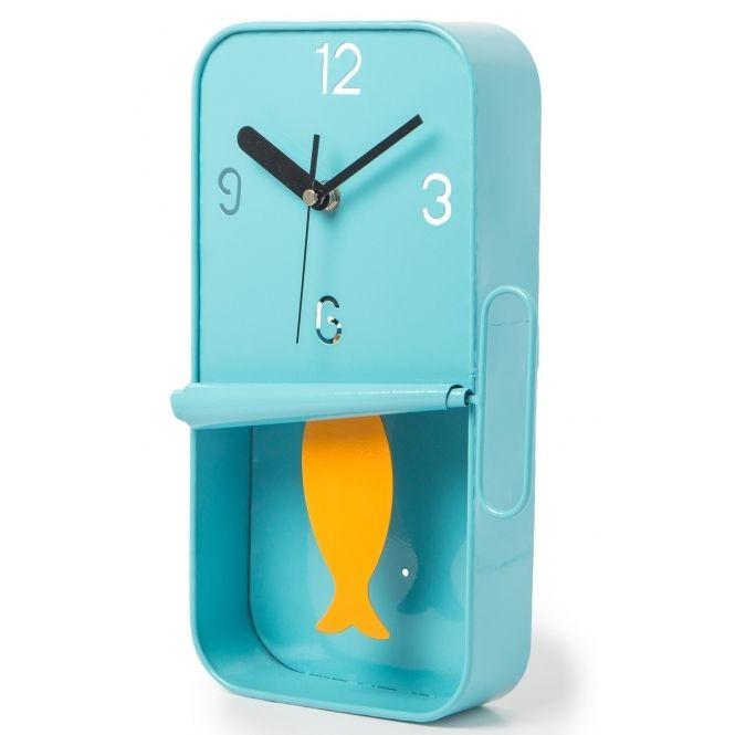 Sardine Tin Pendulum Wall Clock Blue Hurn And Hurn Unusual Clocks Wall Clock Wall Clock Design