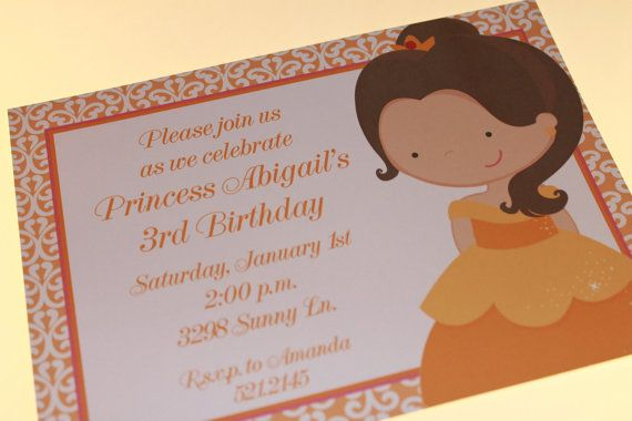 Princess Belle Birthday Invitations on Etsy, $1.00