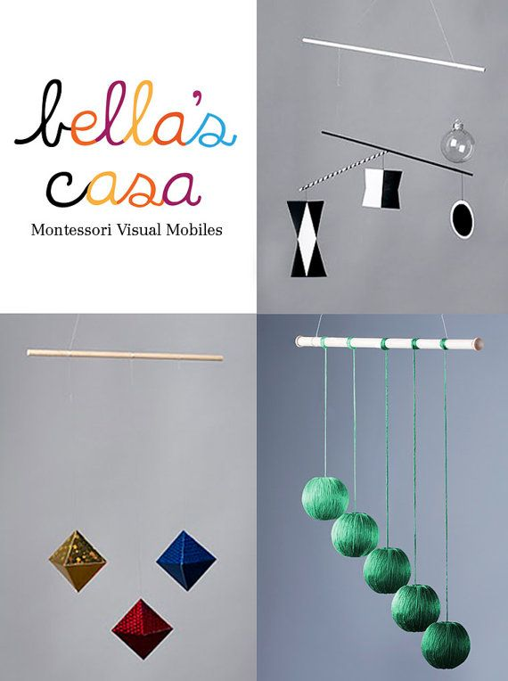 3 Montessori Visual Mobiles - Exclusive Product Offering. Include the Munari, Octahedron, Gobbi Mobile (all assembled) - Ready to Hang via Etsy