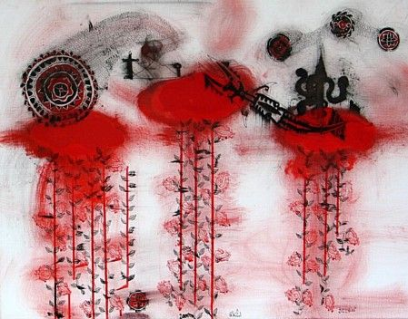 Below (2005)  by John Pule  | Oil and ink on canvas,  600 x 800 mm. John Puhiatau Pule  b. 1962, lives and works in Auckland, New Zealand