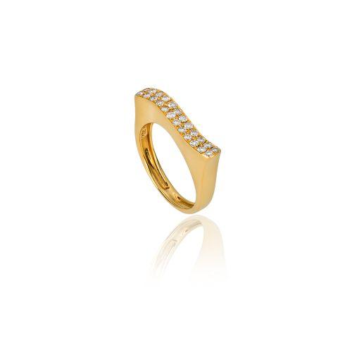 Νew Diamond Spirit ring in 18ΚΤ yellow gold and diamonds.