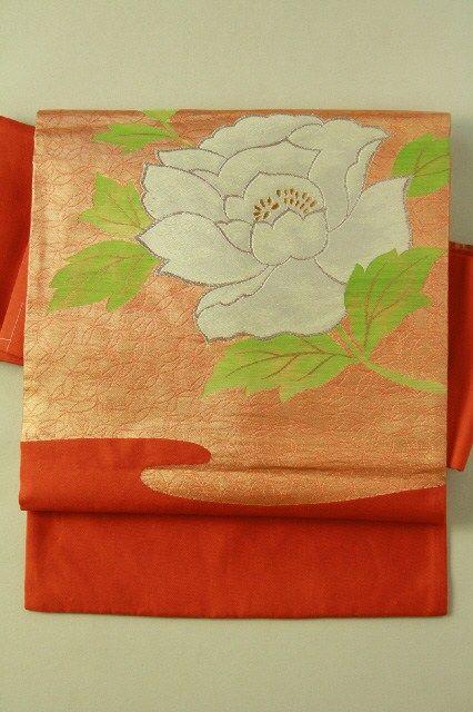 Gold botan flower pattern, nagoya obi / 柿色地 金の七宝霞に牡丹花のお太鼓柄 名古屋帯  #Kimono #Japan http://global.rakuten.com/en/store/aiyama/