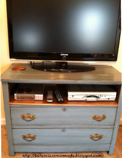 Old dresser turned TV stand