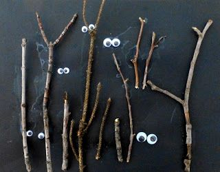 Love this... Collect sticks, glue them in, and then glue the eyes (or anything), from Craftulate.blogspot.com  http://craftulate.blogspot.com/2013/09/6-super-easy-halloween-crafts-for.html