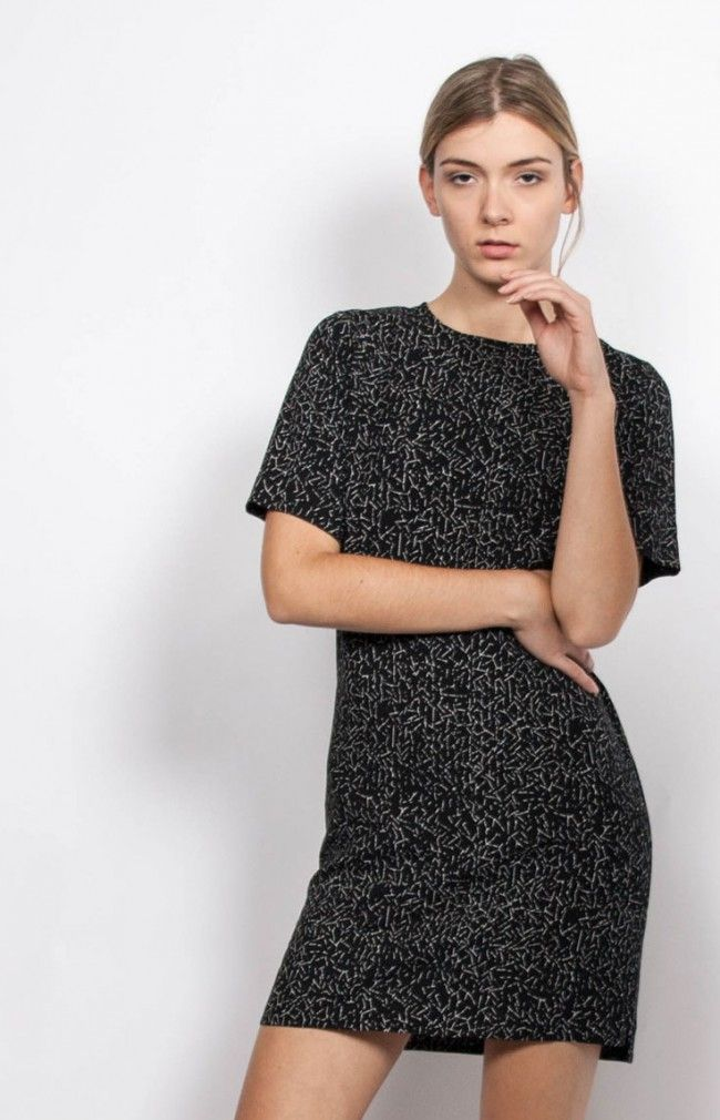 ARI - square-cut and short sleeves dress #anglestore #lbd #dress