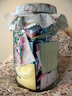 Memory jar. Start this when you get a boyfriend and if he becomes your husband, you now have a jar of all your memories from all the way back to when you met. Wish I had saw this earlier!