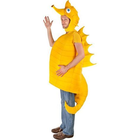 You will have a ball with this adult size Sea Horse costume. Bright yellow and made with quality fabric over foam, this seahorse is the perfect sea creature costume for any party animal this Halloween