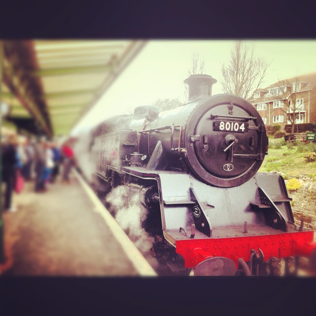 """""""All aboard!"""" - Steam train at Swanage station"""