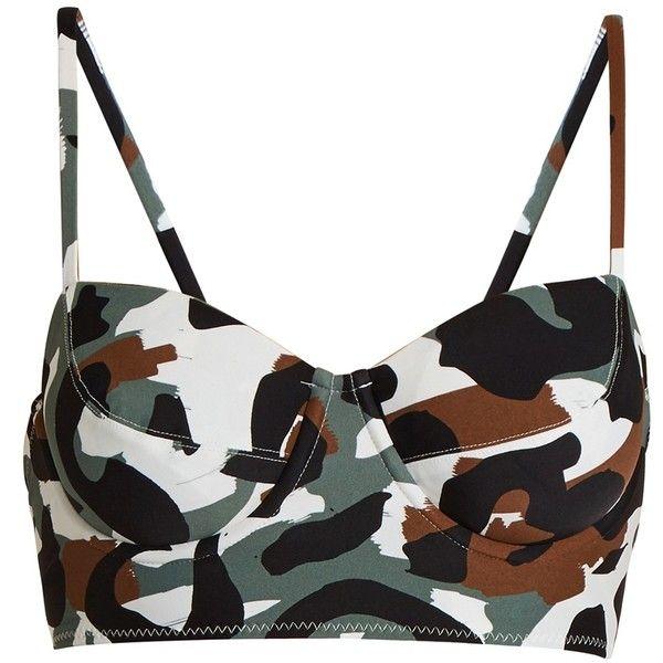 Norma Kamali Camo-print balconette bikini top ($125) ❤ liked on Polyvore featuring swimwear, bikinis, bikini tops, swim tops, camo bikini, swim suit tops, underwire bikini tops and balconette bikinis