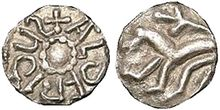 Silver coin of Aldfrith of Northumbria (686–705). OBVERSE: +AldFRIdUS, pellet-in-annulet; REVERSE: Lion with forked tail standing left.