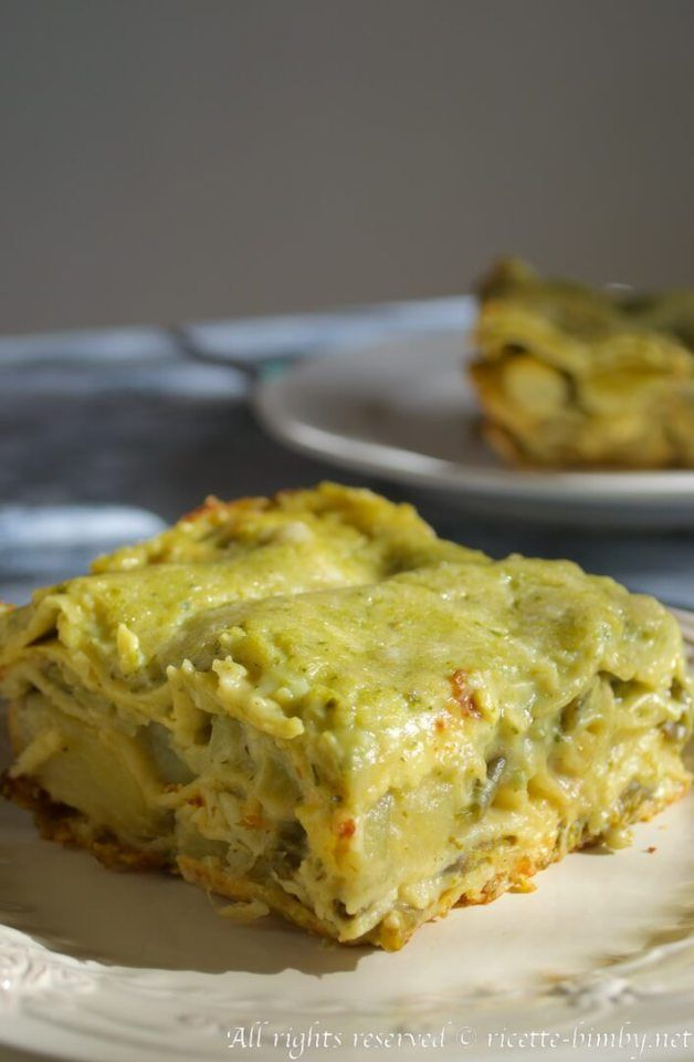 Lasagne al pesto, patate e fagiolini bimby