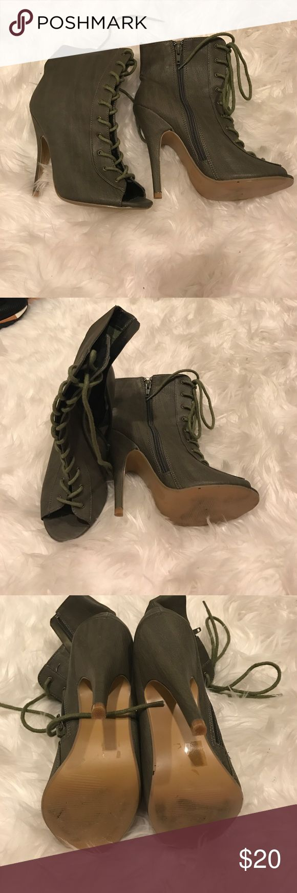 Olive Green Lace up Booties Olive Green Lace up Booties Shoes Lace Up Boots