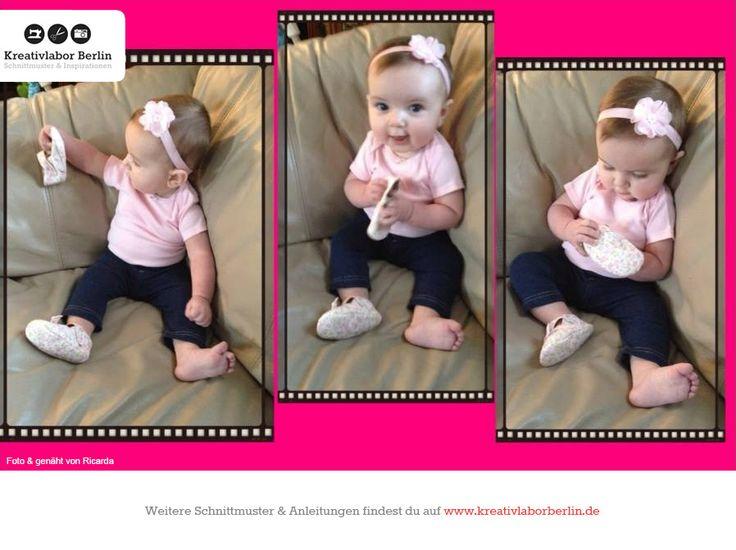 Babyschuhe mit Riemchen, zum Schnittmuster: http://www.kreativlaborberlin.de/naehanleitungen-schnittmuster/suesse-babyschuhe-mit-riemchen-variante-a/