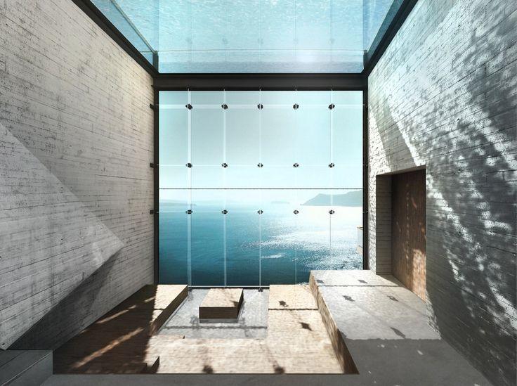 huis woning klif Grieks Egeïsche zee Griekenland Casa Brutale uitzicht glas hout beton - Het huis in de klif - Wonen voor mannen