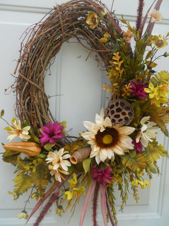 Fall Oval Grapevine Wreath With Ferns Florals By