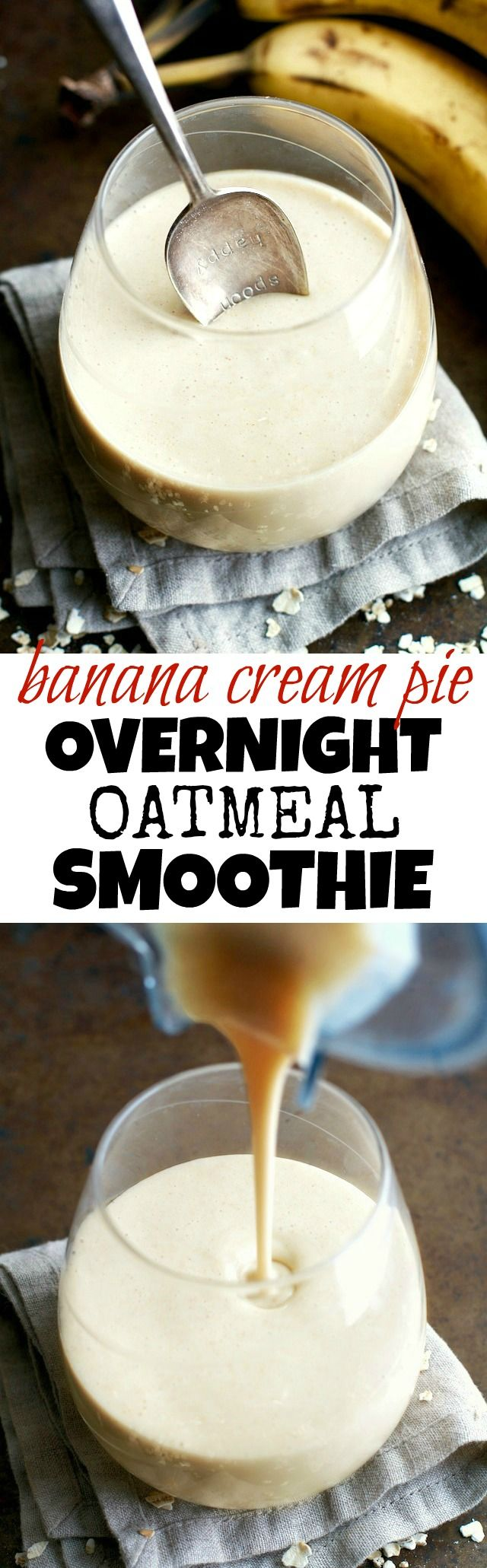 You've never had oatmeal like this before! This thick and creamy Banana Cream Pie Overnight Oatmeal Smoothie combines that stick-to-your-ribs feeling of a bowl of oats with the silky smooth texture of a smoothie!  runningwithspoons.com #vegan #smoothie #healthy #snack