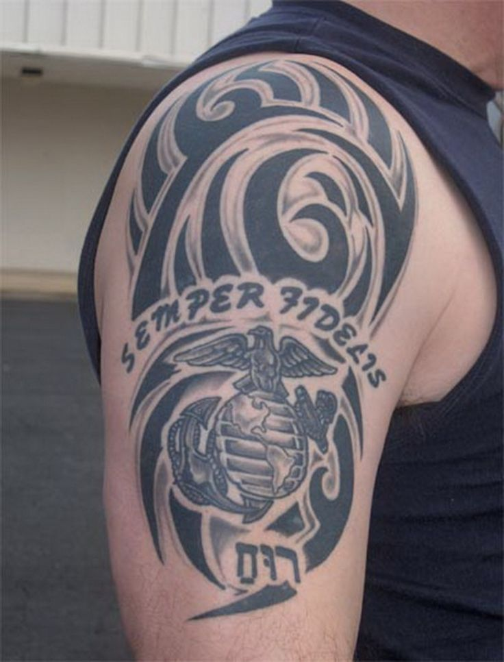 17 best images about tattoos on pinterest back tattoos for Usmc sleeve tattoo ideas