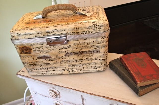 The Polka Dot Closet: Vintage Sheet Music Covered Suitcase
