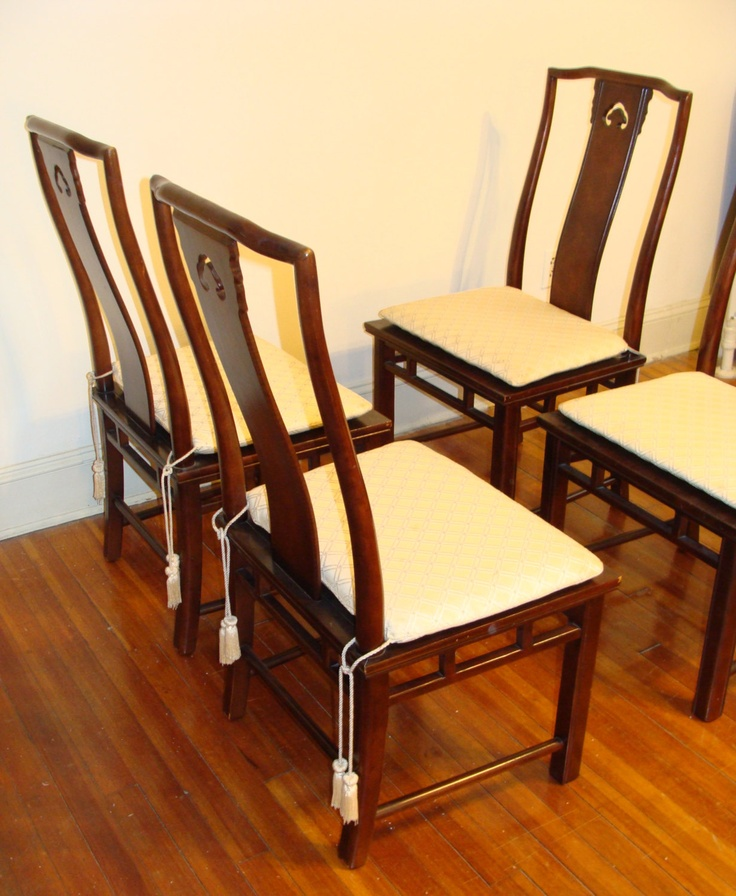 FOUR Large Asian Dining Chairs High Back Wood & Cane Seat ...