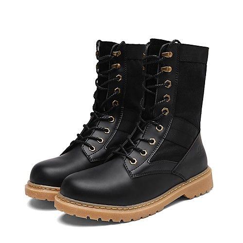 56497eb166 Masculino sapatos Couro Ecológico Primavera Outono Coturnos Botas Cadarço  Para Casual Preto Cinzento Khaki de 2018