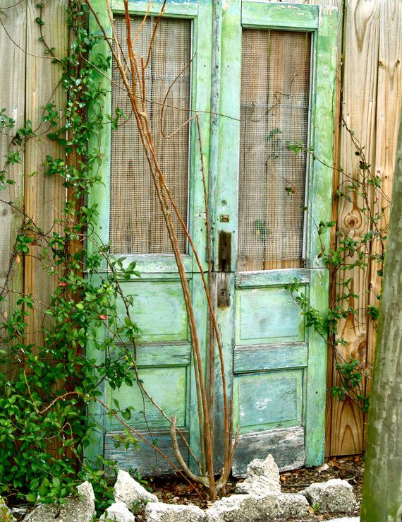 old doors in the garden: Modern Gardens, Green Doors, The Doors, Window, Gardens Design Ideas, Interiors Design, Gardens Doors, Screens Doors, Old Doors