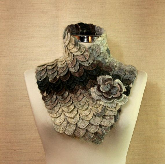 Crochet Crocodile Charcoal Gray Scarf  / Cowl Chunky by lightist
