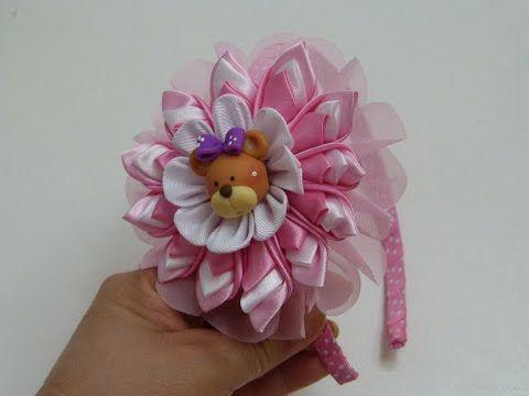 como hacer faciles flores kanzashi en tela para diademas headband tutorial