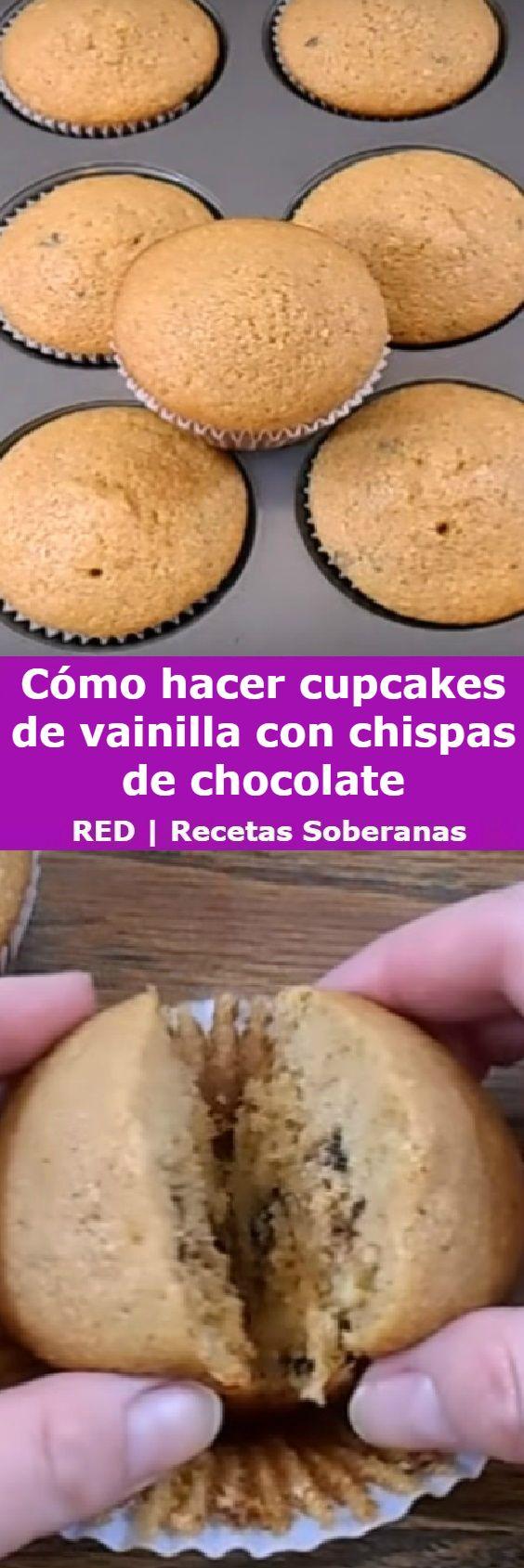 Cómo hacer cupcakes de vainilla con chispas de chocolate, receta básica.  #chispas #cakes #cupcakes #vainilla #comohacer #perfect #postres #receta #recipe #casero #torta #tartas #pastel #nestlecocina #bizcocho #bizcochuelo #tasty #cocina #chocolate #pan #panes   Si te gusta dinos HOLA y dale a Me Gusta MIREN