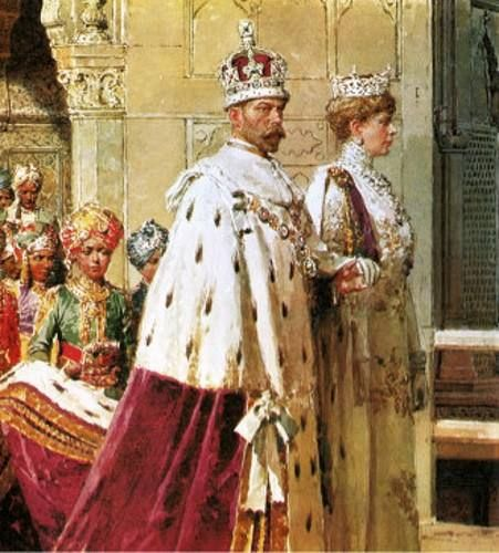 King George V And Queen Mary:  The Delhi Durbar, India, 1910  — I'D Love To Find The Entire Painting