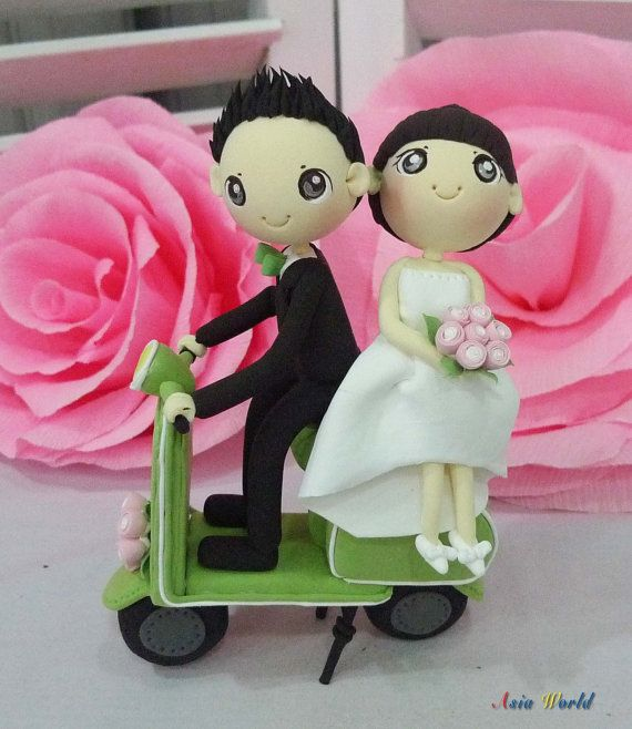picture holder wedding cake topper wedding cake topper green vespa wedding clay doll 18353