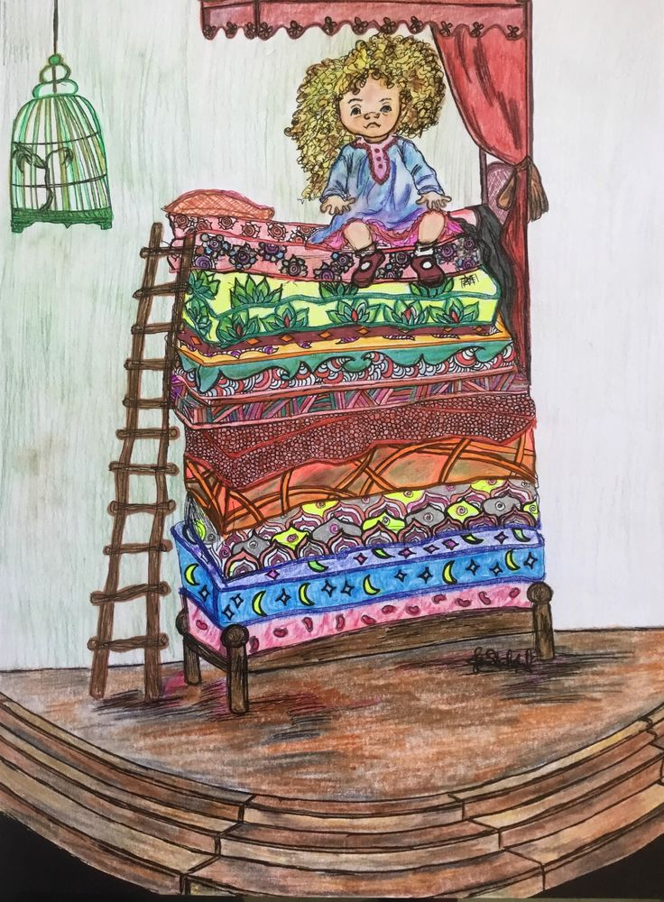 The PRINCESS AND THE PEA From Coloring Book EVER AFTER By Jan Shackelford You Can