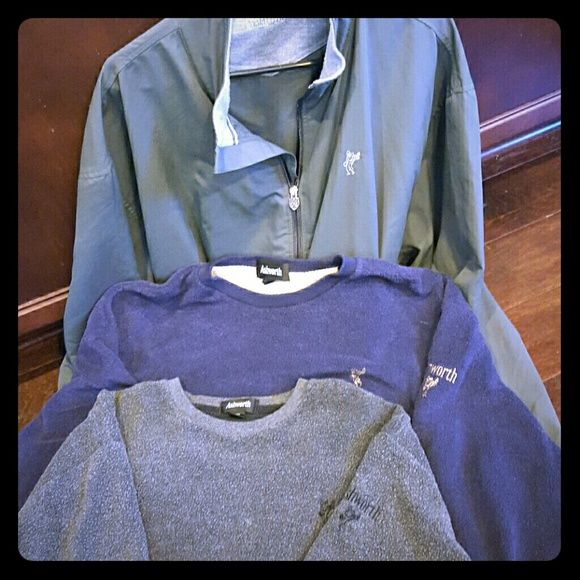 Lot of men's Ashworth golf sweaters Great quality, cold weather golf sweaters, one grey, one navy blue, and one front zip jacket(xxl). Ashworth Sweaters