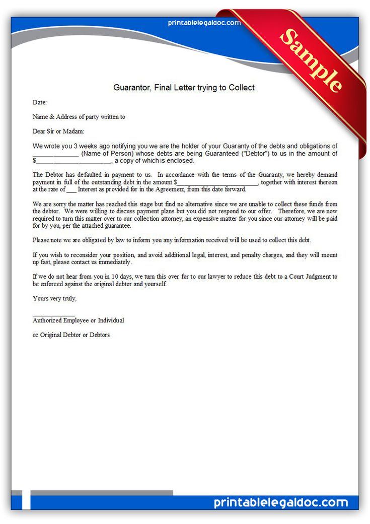 Free Printable Guarantor, Final Letter Trying To Collect ...
