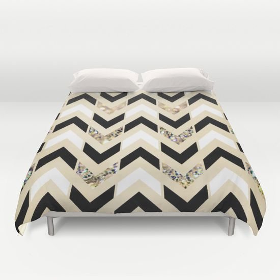 Buy ultra soft microfiber Duvet Covers featuring Black, White & Gold Glitter Herringbone Chevron on Nude Cream by Tangerine-Tane. Hand sewn and meticulously crafted, these lightweight Duvet Cover vividly feature your favorite designs with a soft white reverse side.