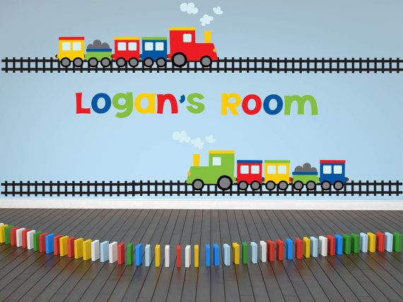 Autocollant Decal - nom de train - Train Wall Decal - pépinière Wall Decal-transports Decal - Boy Wall Decal - personnalisé nom Decal - Wall Decal