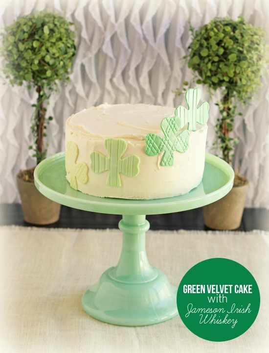 A festive recipe for Green Velvet Cake with Jameson Irish Whiskey Buttercream #St.Patrick'sDay