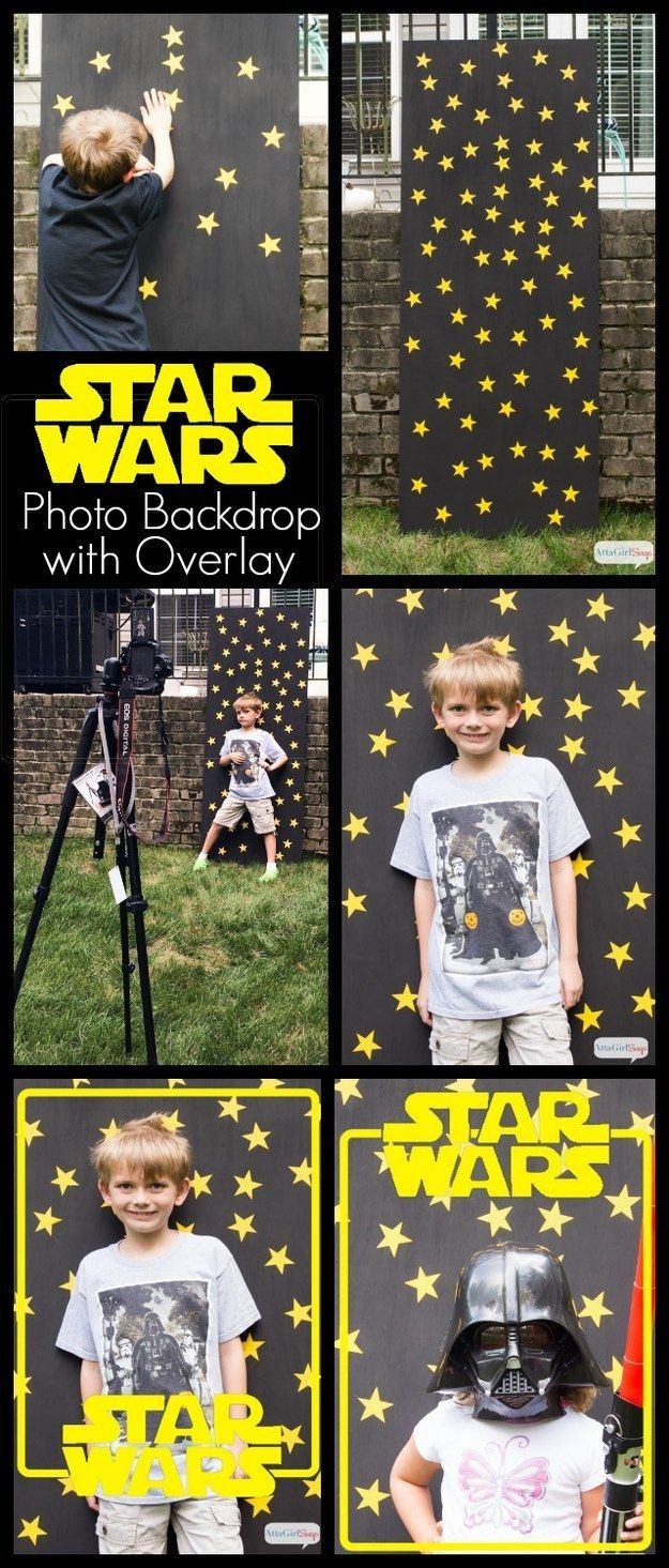 Use a piece of plywood, some black paint, and star stickers for a photo backdrop.