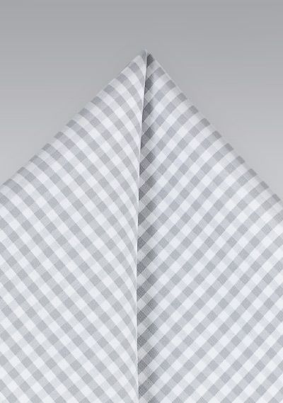 Summer Cotton GIngham Check Pocket Square in Silver and Gray