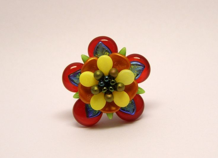Rings – Carnival colour inspired glass bead ring – a unique product by DarkEyedJewels on DaWanda